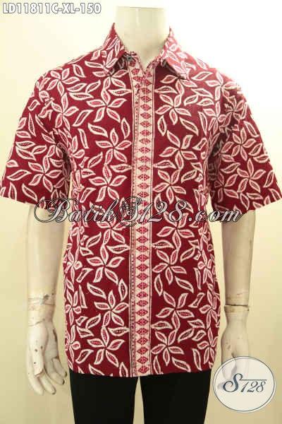Baju Kemeja Batik Warna Merah Lengan Pendek Halus, Busana Batik Solo Asli Motif Elegan Proses Cap Bahan Adem Yang Nyaman Di Pakai [LD11811C-XL]