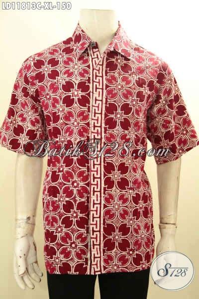 Baju Batik Terbaru Untuk Pria, Hadir Dengan Warna Merah Motif Trendy Proses Cap Model Lengan Pendek Bahan Halus, Penampilan Lebih Keren Dan Tampan
