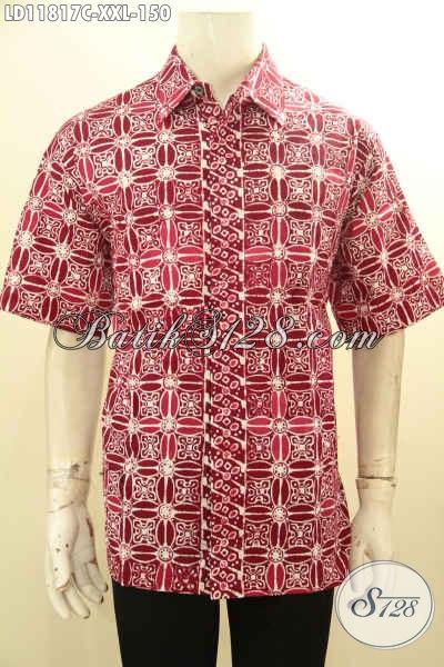 Busana Batik Jumbo Lengan Pendek Warna Merah, Pakaian Batik Istimewa Motif Berkelas Spesial Untuk Pria Gemuk, Bisa Untuk Santai Dan Resmi [LD11817C-XXL]