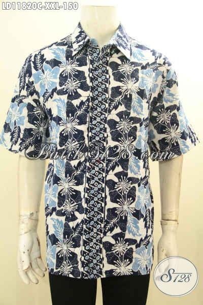 Model Baju Batik Casual Pria Lengan Pendek, Busana Batik Modis Motif Unik Untuk Yang Bebadan Gemuk Kwalitas Istimewa, Penampilan Lebih Kece [LD11820C-XXL]