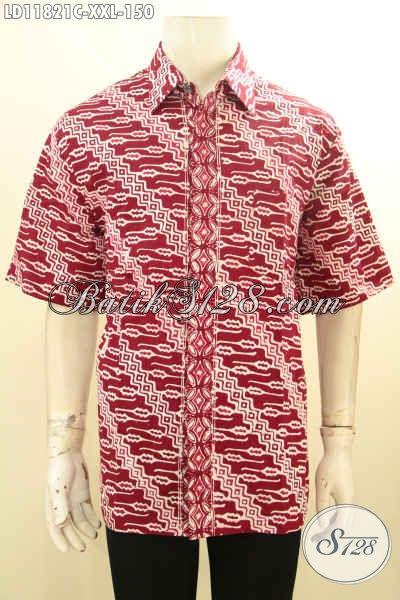 Jual Kemeja Batik Pria Gemuk Size XXL, Hem Batik Merah Motif Parang Model Lengan Pendek Bahan Halus Proses Cap Hanya 100 Ribuan