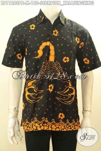 Batik Kemeja Warna Elegan Motif Kalajengking, Hem Batik Modis Buat Kawula Muda Tampil Beda [LD11823PB-M]