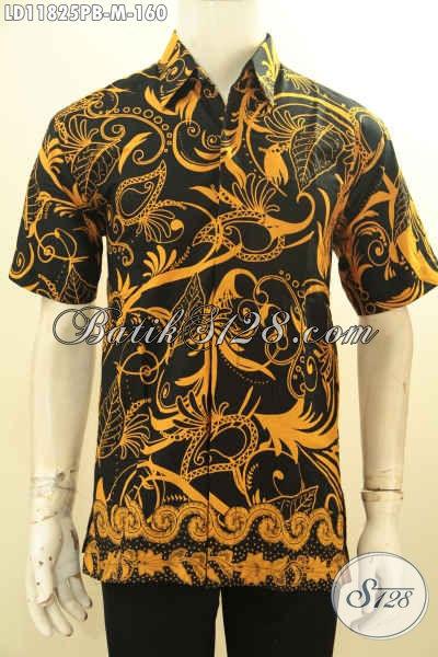 Hem Batik Pria Muda, Kemeja Bati Lengan Pendek Motif Keren Warna Elegan Asli Buatan Solo Proses Printing Cabut, Cocok Untuk Kerja Tampil Gagah Dan Tampan