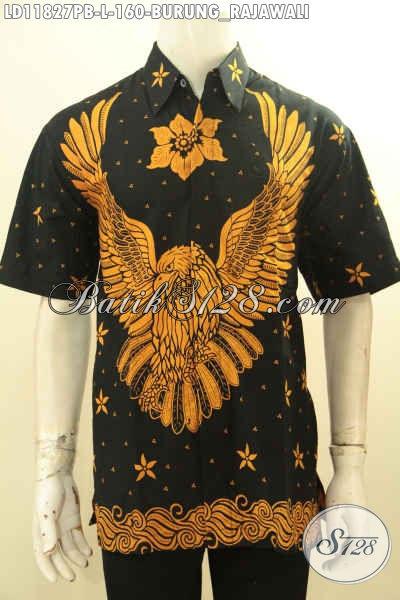 Baju Batik Cowok Warna Klasik, Busana Batik Pria Lengan Pendek Motif Burung Rajawali Desain Terbaru Cocok Buat Kerja Kantoran Atau Kondangan  [LD11827PB-L]