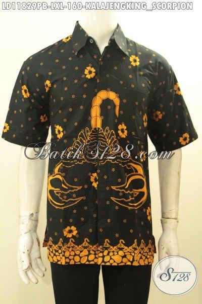 Produk Pakaian Batik Pria Terkini, Busana Batik Printing Cabut Lengan Pendek Motif Kalakengking, Spesial Untuk Pria Dewasa Tampilo Gagah Dan Keren