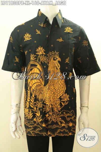 Produk Pakaian Batik Pria Terbaru Asli Solo, Kemeja Batik Cowok Lengan Pendek Motif Ayam Jago Warna Elegan Proses Printing Cabut, Penampilan Makin Tampan Berkelas [LD11830PB-XL]
