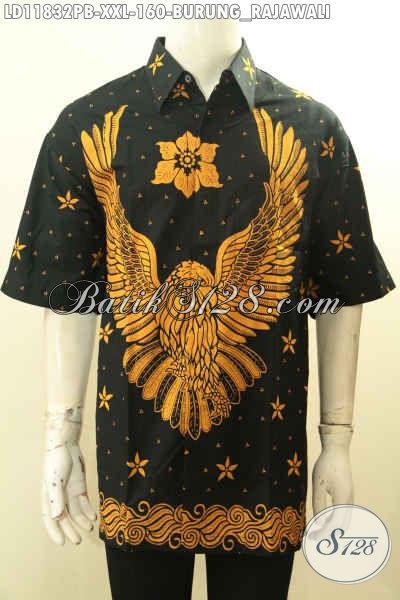 Batik Hem Pria Gemuk Motif Burung Rajawali, Kemeja Batik Kerja Modis Warna Elegan Klasik Prosos Printing Cabut Asli Buatan Solo, Penampilan Lebih Berkelas [LD11832PB-XXL]