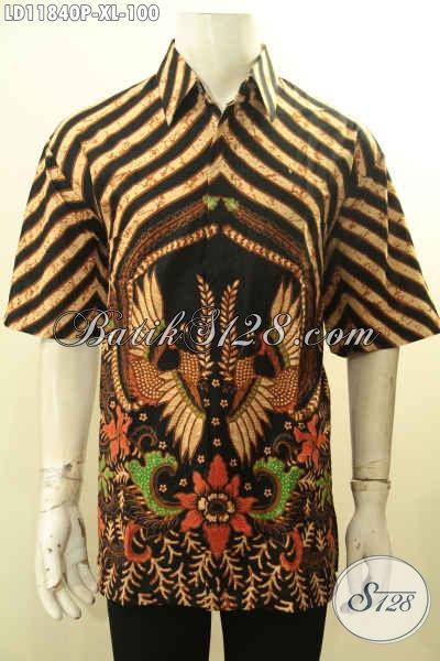 Jual Kemeja Batik Pria Dewasa Lengan Pendek Motif Mewah, Busana Batik Kerja Nan Elegan Bahan halus Desain Baru, Penampilan Makin Sempurna [LD11840P-XL]
