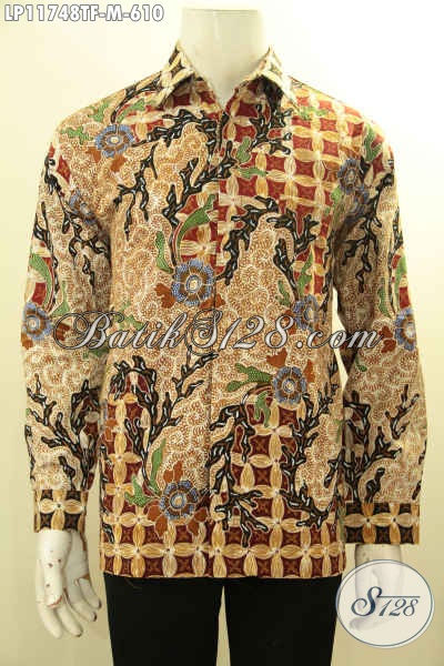 Jual Kemeja Batik Mewah Tulis Asli, Pakaian Batik Lengan Panjang Premium Full Furing Nan Berkelas, Pilihan Tepat Untuk Penampilan Lebih Gaga Sempurna [LP11748TF-M]