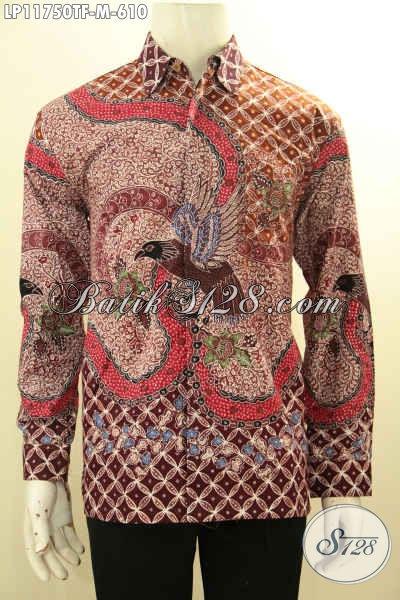 Baju Batik Mewah Exclusive Pria Sukses, Kemeja Batik Tulis Lengan Panjang Full Furing Premium Elegan Untuk Kondangan Dan Berkelas Buat Ngantor [LP11750TF-M]