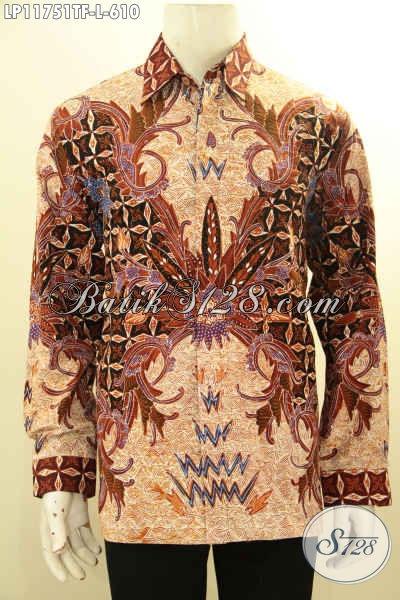 Kemeja Batik Solo Mewah Lengan Panjang Pakai Furing, Busana Batik Istimewa Motif Berkelas Proses Tulis, Kesukaan Pejabat Dan Eksekutif