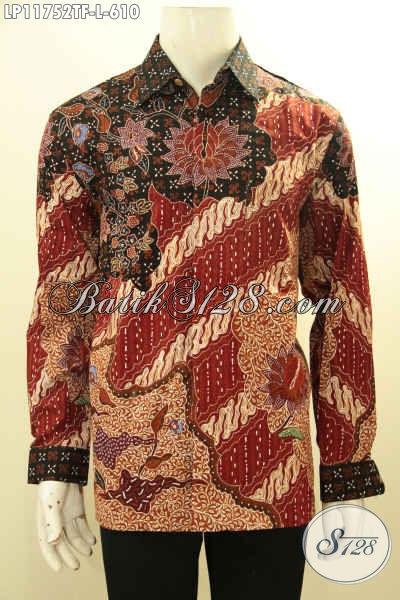 Busana Batik Solo Elegan Dan Mewah Motif Terbaik Saat Ini, Kemeja Batik Pria Lengan Panjang Tulis Pakai Furing, Pas Untuk Acara Resmi [LP11752TF-L]