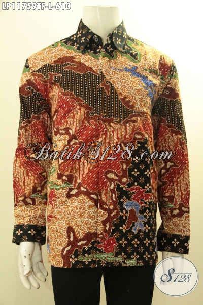 Jual Online Kemeja Batik Solo Premium Lengan Panjang Full Furing, Pakaian Batik Mewah Nan Berkelas Motif Bagus Proses Tulis, Pilihan Tepat Untuk Penampilan Yang Sempurna
