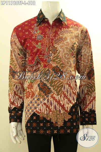 Model Tebaru Kemeja Batik Cowok Lengan Panjang Mewah Tulis Asli, Busana Bati Solo Premium Full Furing Bahan Adem Nyaman Di Pakai Harian [LP11760TF-L]