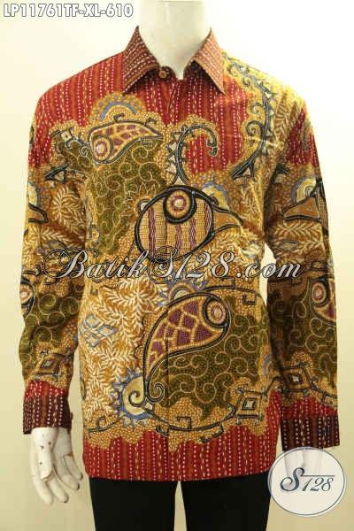 Pusat Baju Batik Premium Online, Jual Kemeja Batik Pria Lengan Panjang Tulis Asli, Pakaian Batik Kerja Motif Mewah Pakai Furing, Tampil Percaya Diri [LP11761TF-XL]