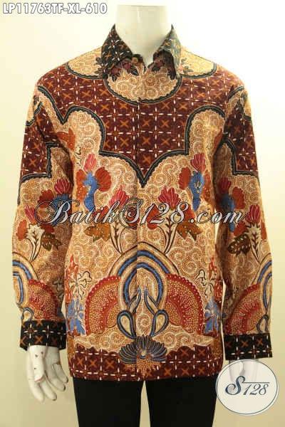 Toko Busana Batik Online Paling Up To Date, Sedia Kemeja Lengan Panjang Batik Tulis Mewah Pakai Furing Bahan Halus Motif Bagus Hanya 600 Ribuan [LP11763TF-XL]