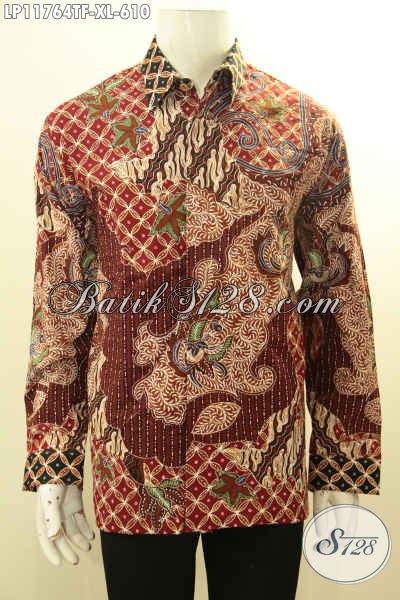 Jual Kemeja Batik Solo Modern Lengan Panjang Mewah Motif Terkini Tulis Asli, Pakaian Batik Pria Dewasa Pakai Furing, Tampil Gagah Berwibawa [LP11764TF-XL]