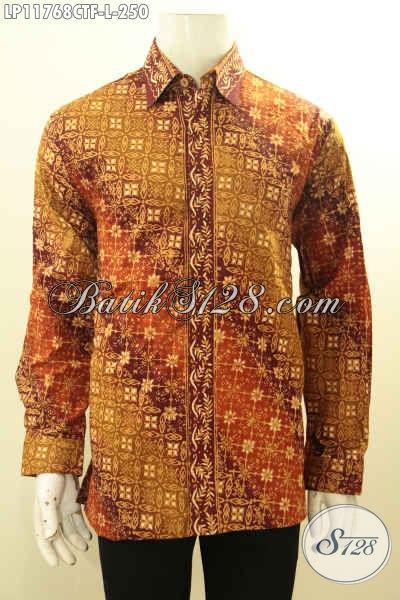 Kemeja Batik Solo Ukuran L, Pakaian Batik Elegan Motif Klasik Bahan Halus Nan Istimewa Yang Model Lengan Panjang Pakai Furing, Bisa Untuk Acara Santai Maupun Resmi