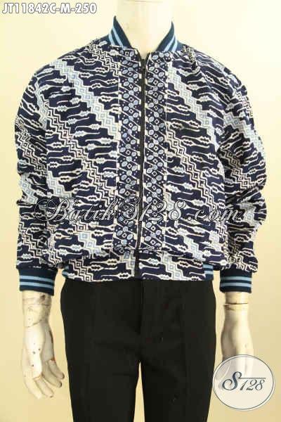 Jual Jaket Batik Elegan, Bahan Halus Desain Bomber Motif Klasik Proses Cap, Pria Tampil Lebih Gagah Dan Kekinian