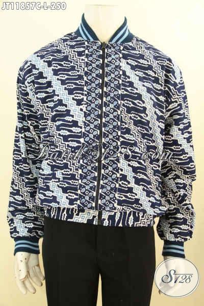 Jaket Batik Bomber Bahan Batik Solo Proses Cap Motif Parang, Jaket Batik Istimewa Halus Pakai Furing Dormeuil Nan Mewah, Tmapil Makin Percaya Diri [JT11857C-L]