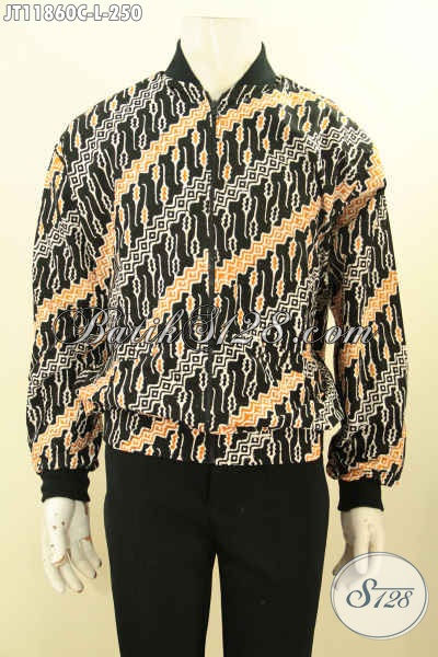 Jaket Bomber Batik Solo Halus Motif Parang Klasik Proses Cap, Jaket Batik Istimewa Di Lengkapi Daleman Furing Dormeuil Untuk Kesan Mewah Dan Berkelas [JT11860C-L]