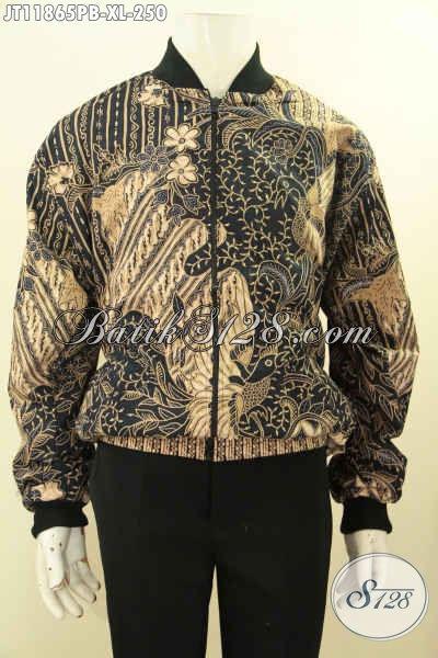Sedia Jaket Batik Desain Bomber Nan Modis Dan Keren, Berbahan Halus Dengan Motif Elegan Klasik Proses Printing Pakai Furing Dormeuil, Tampi Gagah Dan Trendy