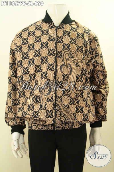 Jual Jaket Batik Solo Model Bomber Khas Kawula Muda, Jaket Batik Kekinian Motif Elegan Bahan Halus Full Furing, Modis Juga Untuk Pria Dewasa