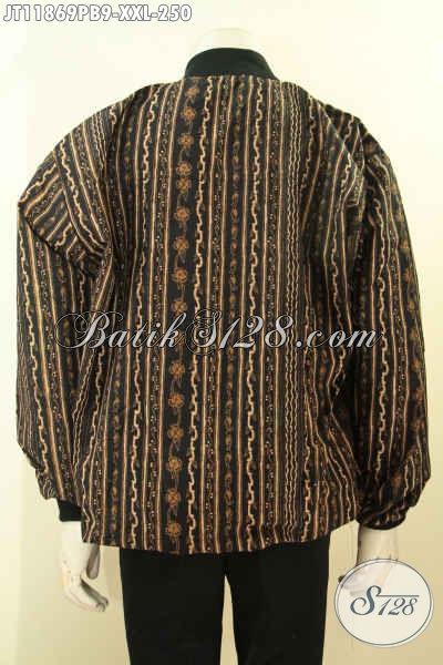 Jaket Bomber Batik Spesial Untuk Lelaki Gemuk, Batik Jaket Solo Elegan Dan Mewah Pakai Furing Dormeuil Hanya 200 Ribuan Saja [JT11869PB-XXL]