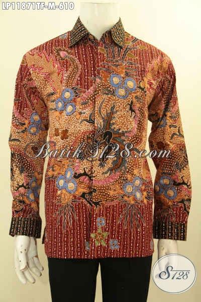 Baju Batik Tulis Pria Tangan Panjang Mewah Buatan Solo Asli, Hem Batik Premium Pakai Daleman Furing Motif Terkini Proses Tulis Hanya 600 Ribuan