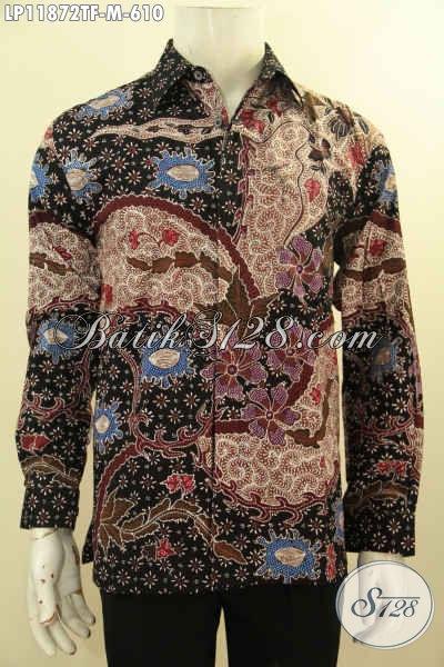 Kemeja Batik Solo Premium Solo Tulis Asli, Pakaian Batik Halus Model Tangan Panjang Full Furing, Tampil Gagah Bak Pejabat