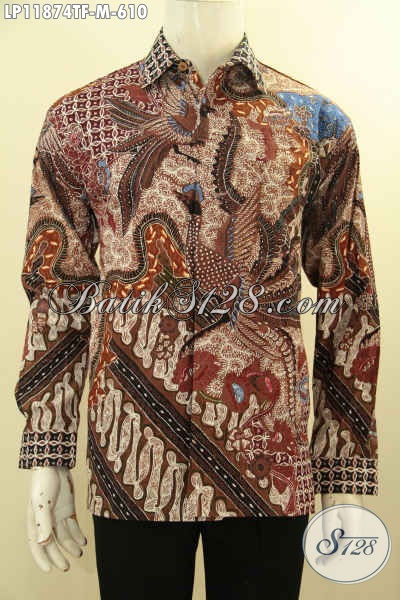Kemeja Batik Tulis Tangan Panjang Mewah Khas Jawa Tengah, Pakaian Batik Premium Motif Klasik Untuk Penampilan Gagah Dan Sempurna