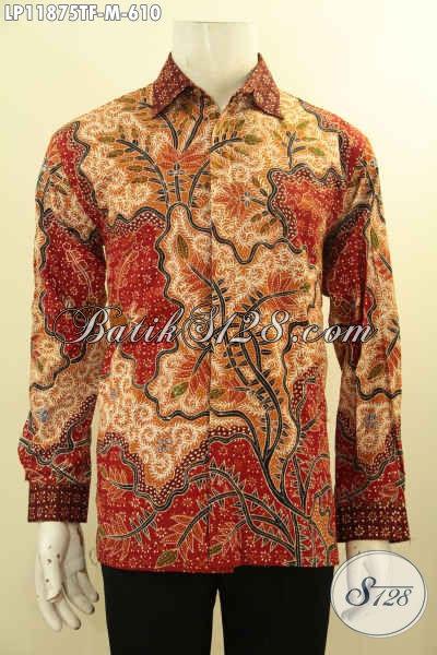 Produk Busana Batik Solo Tangan Panjang Motif Bagus Tulis Asli, Pakaian Batik Mewah Full Furing Menunjang Penampilan Pria Makin Mempesona