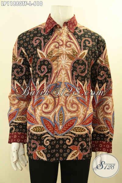 Baju Batik Atasan Pria Mewah Tangan Panjang, Pakaian Batik Solo Tulis Asli Motif Terbaru Daleman Full Furing, Penampilan Makin Berwibawa