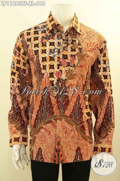 Pakaian Batik Mewah Pria Terbaru, Kemeja Batik Tulis Solo Full Furing Nan Elegan Dan Berkelas Model Tangan Panjang, Penampilan Rapi Dan Mempesona