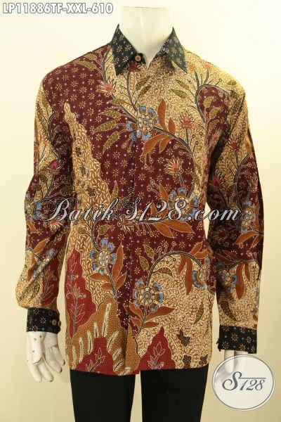 Kemeja Batik Mewah Tulis Asli, Pakaian Batik Jumbo Lelaki Gemuk Model Tangan Panjang Full Furing Motif Klasik Terbaru, Cocok Untuk Kerja Dan Acara Formal