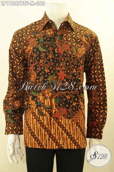 Kemeja Batik Elegan Pria Muda Ukuran M, Busana Batik Halus Motif Bagus Proses Kombinasi Tulsi Tangan Panjang Full Furing, Penampilan Makin Menawan