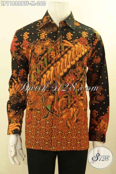 Baju Batik Kantoran Pria Elegan Motif Klasik, Kemeja Batik Kombinasi Tulis Tangan Panjang Pakai Furing, Pilihan Tepat Tampil Berkelas