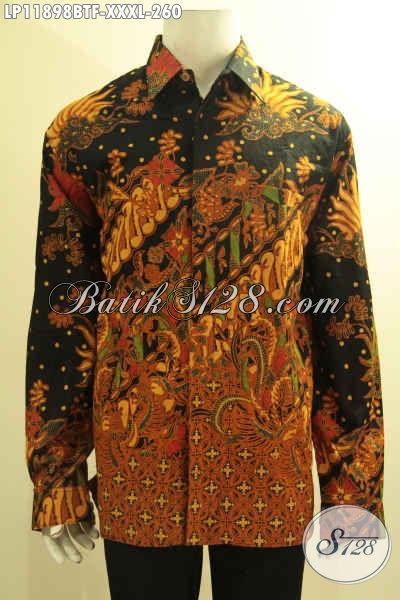 Kemeja Batik Pria Gemuk Sekali, Busana Batik Solo Halus Tangan Panjang Kombinasi Tulis Daleman Pakai Furing, Cocok Untuk Acara Resmi Dan Seragam Kerja Kantor
