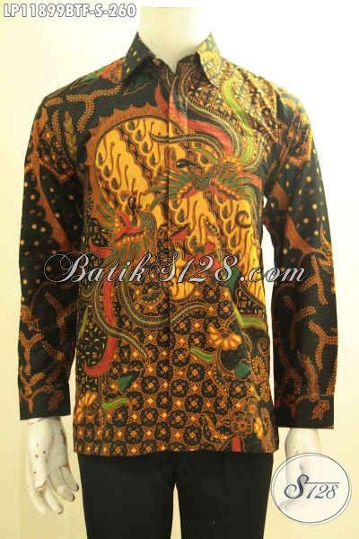 Busana Batik Pria Ukuran S, Kemeja Batik Kombinasi Tulis Tangan Panjang Nan Elegan Daleman Pakai Furing Yang Bikin Penampilan Terlihat Gagah Berkelas