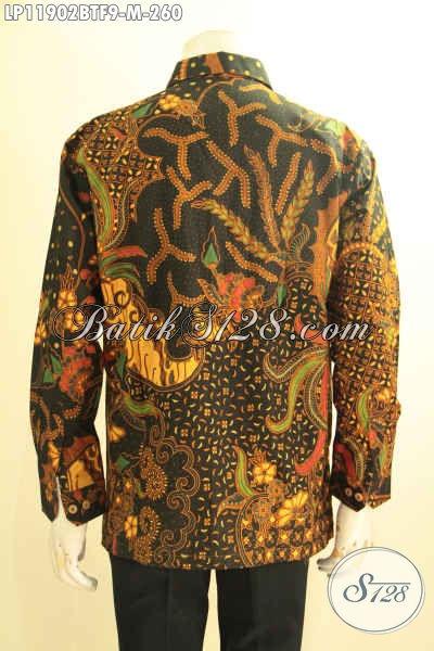 Kemeja Batik Pria Kombinasi Tulis Tangan Panjang Halus Ukuran M, Pakaian Batik Solo Asli Motif Bagus Dan Berkelas Daleman Full Furing, Cocok Untuk Acara Resmi