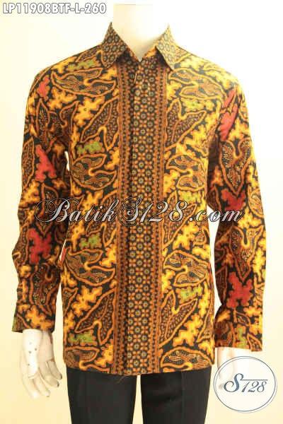 Produk Terbaru Pakaian Batik Pria Nan Istimewa, Busana Batik Solo Asli Kombinasi Tulis Tangan Panjang Pakai Furing, Pilihan Tepat Tampil Gagah Sempurna [LP11908BTF-L]