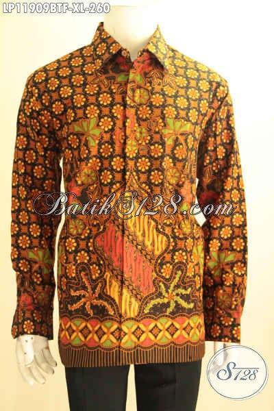 Produk Terbaru Pakaian Batik Pria Desain Bagus Dan Elegan, Kemeja Batik Tangan Panjang Buatan Solo Halus Motif Terkini Kombinasi Tulis Full Furing, Tampil Gagah Berwibawa