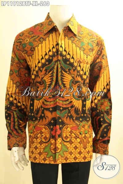 Baju Batik Pria Lengan Panjang Elegan, Busana Batik Solo Halus Full Furing Motif Mewah Elegan Klasik, Cocok Untuk Rapat Dan Acara Resmi Lainnnya [LP11912BTF-XL]