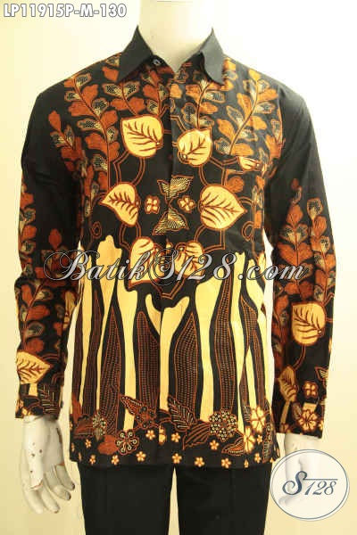 Kemeja Batik Pria Halus Model Tangan Panjang Motif Terkini, Pakaian Batik Solo Asli Proses Printing, Istimewa Buat Kerja Dan Acara Resmi Harga Murah Meriah [LP11915P-M]