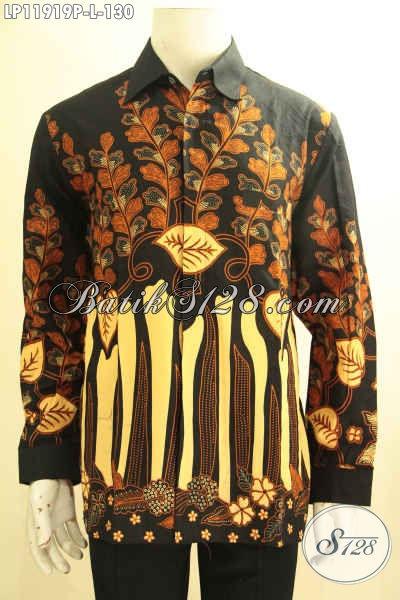 Kemeja Batik Kerja Lengan Panjang Halus Motif Bagus Proses Printing, Pakaian Batik Pria Muda Dan Dewasa Untuk Penampilan Gagah Berwibawa [LP11919P-L]
