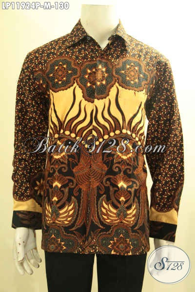Jual Online Baju Batik Solo Tangan Panjang, Kemeja Batik Halus Motif Bagus Bahan Adem Motif Terkini Proses Printing, Menunjang Penampilan Lebih Menawan