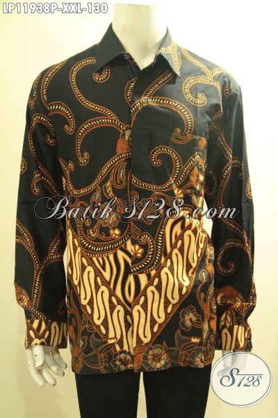 Busana Batik Pria Gemuk, Kemeja Batik Tangan Panjang Halus Motif Terkini Proses Printing, Di Jual Online 130K [LP11938P-XXL]