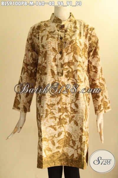 Busana Batik Wanita Masa Kini Bahan Halus Motif Elegan Desain Kerah Shanghai Lengan 7/8 Motif Berkelas Tampil Bergaya