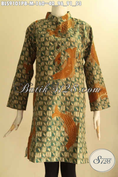 Busana Batik Blouse Istimewa Motif Elegan Bahan Adem Proses Printing Cabut Desain Kerah Shanghai Lengan 7/8 Kancing Depan [BLS9101PB-M]