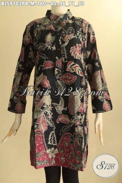 Batik Blouse Terbaru Desain Modern Dengan Lengan 7/8 Kerah Shanghai Motif Trendy Proses Printing Cabut Dan Di Lengkapi Saku Dalam [BLS9103PB-M]